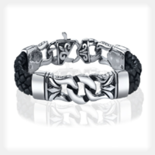 Men's Stainless Steel Bracelet with Black Rope Accents by Gent Man