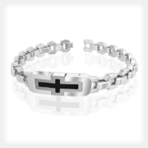 Men's Stainless Steel Bracelet with Black Cross Accent by Gent Man