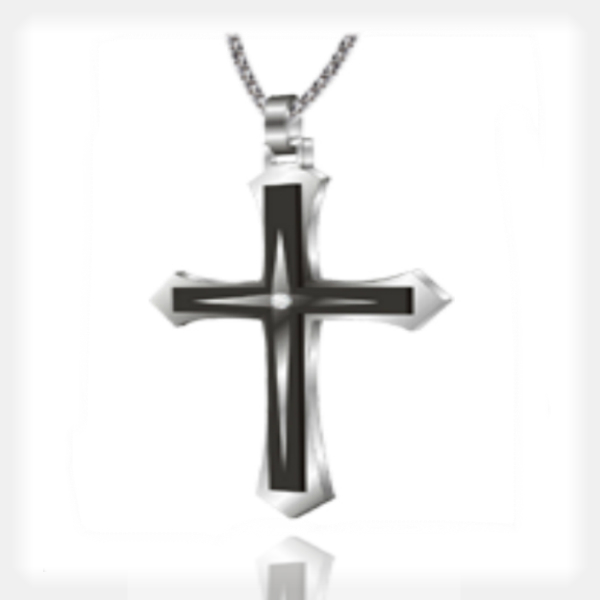 Men's Stainless Steel and Tungsten Cross Pendant by Gent Man