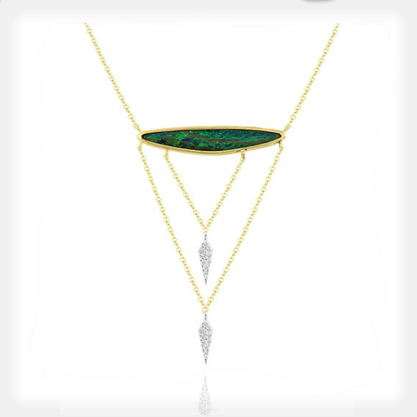Women's Opal Necklace with Diamond Accents by Meira T