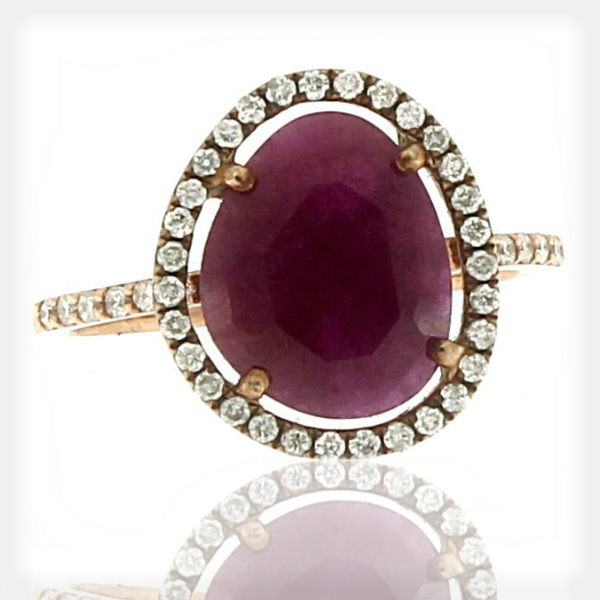 Women's Ruby Ring with a Diamond Halo and Accents by Meira T