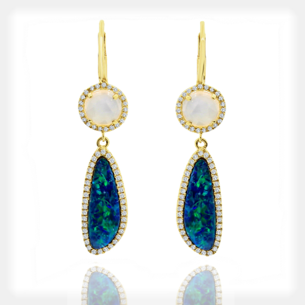 Women's Opal and Aqua Earrings with Diamonds by Meira T