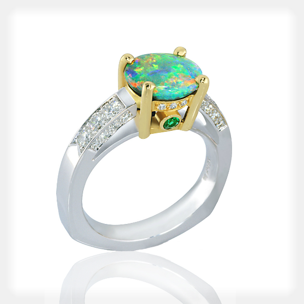 Women's Two Tone Opal Ring with Diamond Accents by Philip Zahm