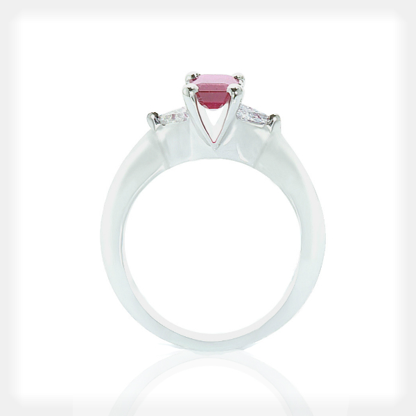 Women's Ruby Ring with Pear Sidestones by Philip Zahm
