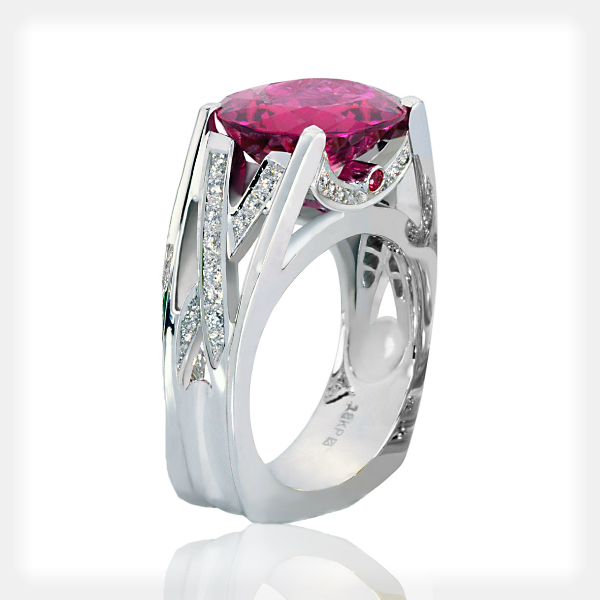 Women's Pink Tourmaline Ring with Diamond Accents by Philip Zahm