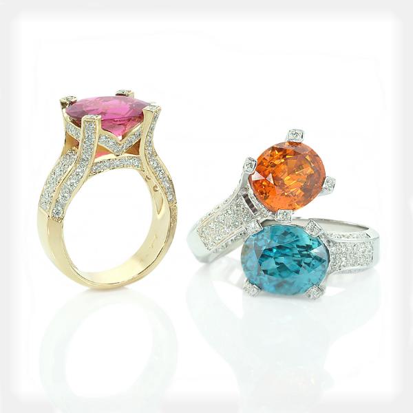 Women's Modern Assorted Gemstone Rings by Philip Zahm