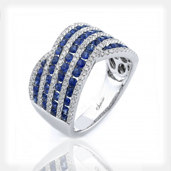 Women's Diamond and Sapphire Ring in White Gold by Supreme Jewelry