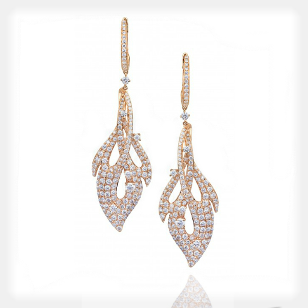 Women's Fiery Rose Gold Earrings with Diamonds by Supreme Jewelry