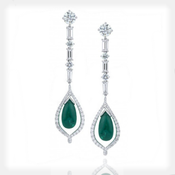 Women's Emerald Earrings with Diamond Accents by Supreme Jewelry