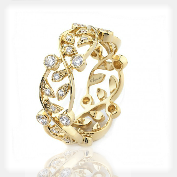 Women's Yellow Gold Floral Ring by Supreme Jewelry