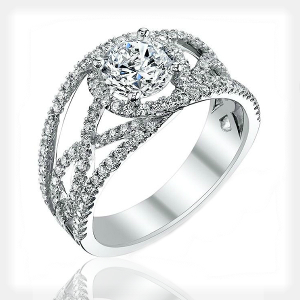 Criss Cross Engagement Ring With Halo by Sylvie Collection