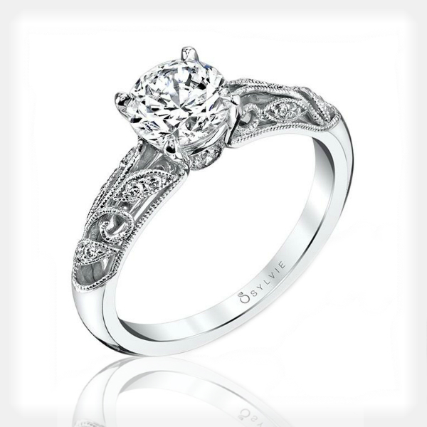Vintage Inspired Solitaire with Filigree by Sylvie Collection