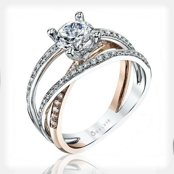 Two Tone Criss Cross Engagement Ring by Sylvie Collection