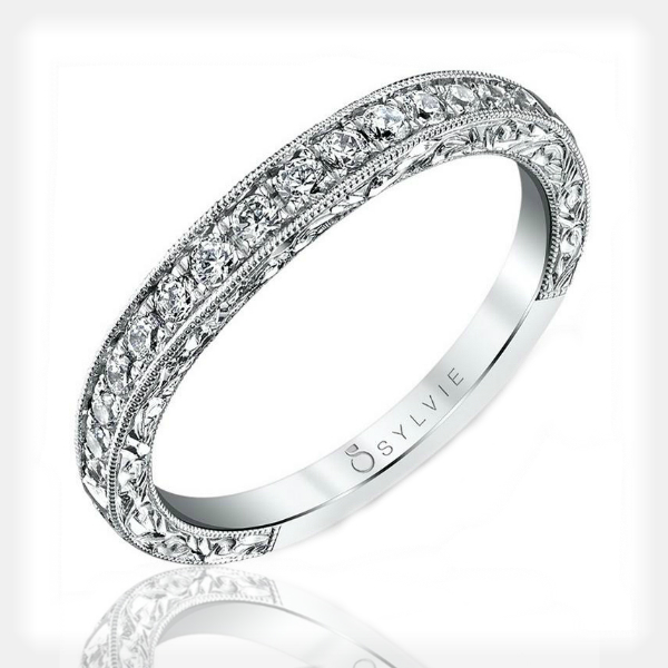 Princess Cut Engagement Ring with Wedding Band by Sylvie Collection