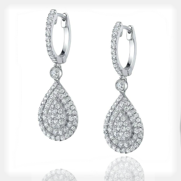 Women's Pear Design Dangle Earrings in White Gold by Sylvie Collection
