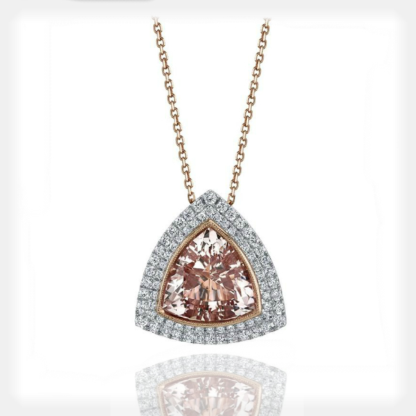 Women's Morganite Pendant with Diamond Halos by Sylvie Collection