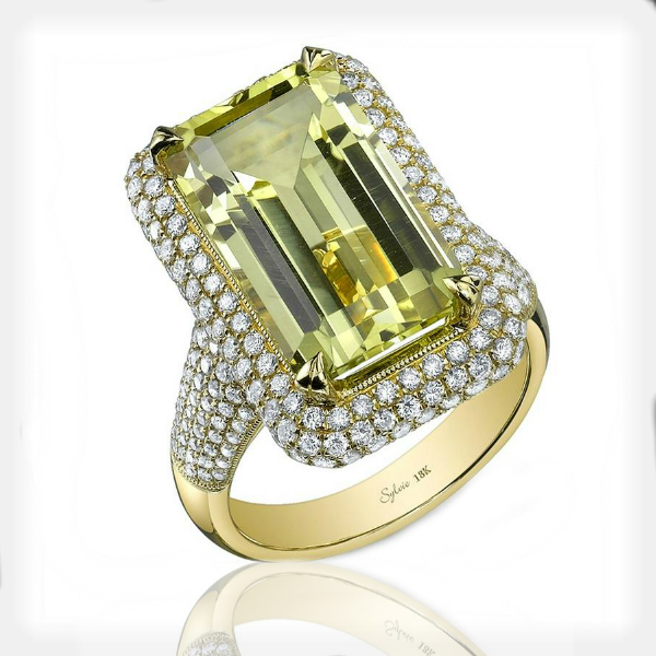 Women's Lemon Quartz Ring with Diamond Accents by Sylvie Collection
