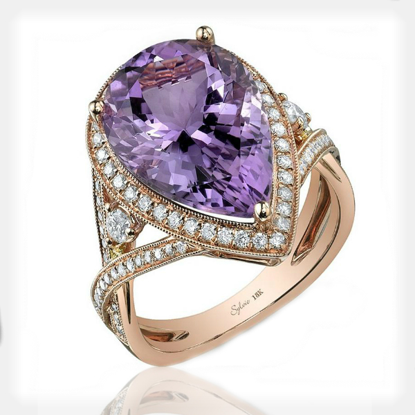 Women's Pear Amethyst Ring with Diamond Accents by Sylvie Collection