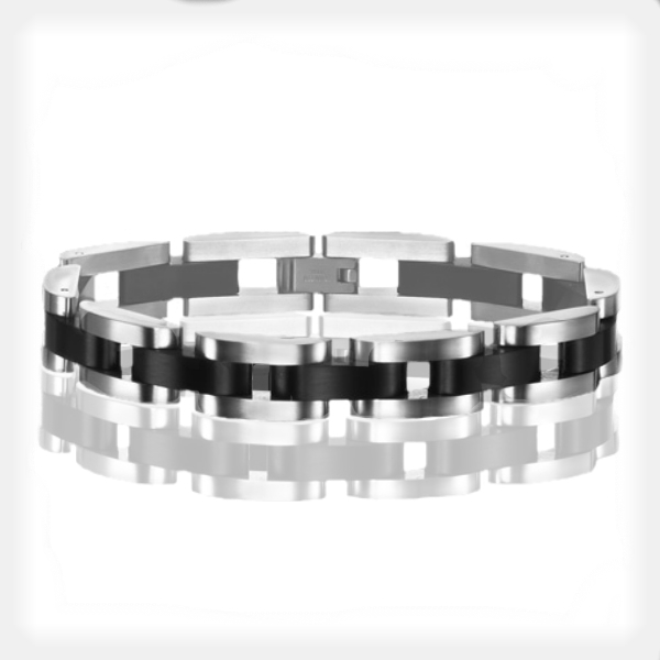 Men's Stainless Steel Bracelet with Black Accents by Triton