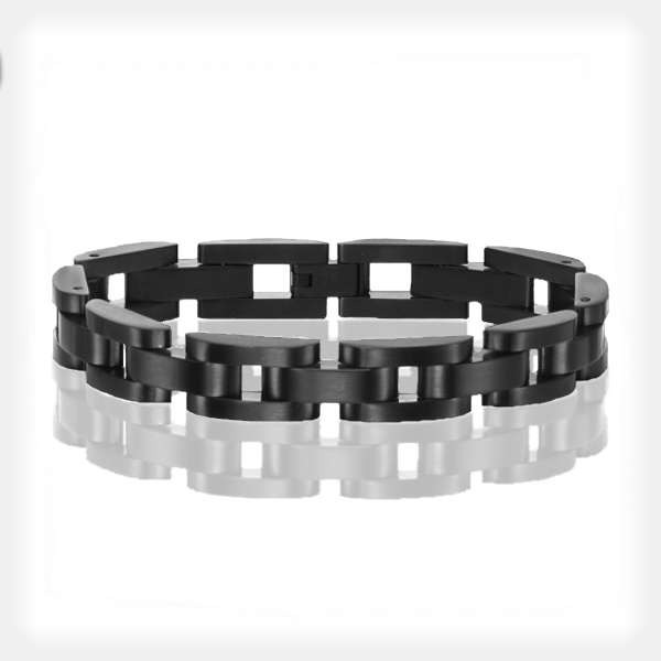 Men's Stainless Steel Black Link Bracelet by Triton