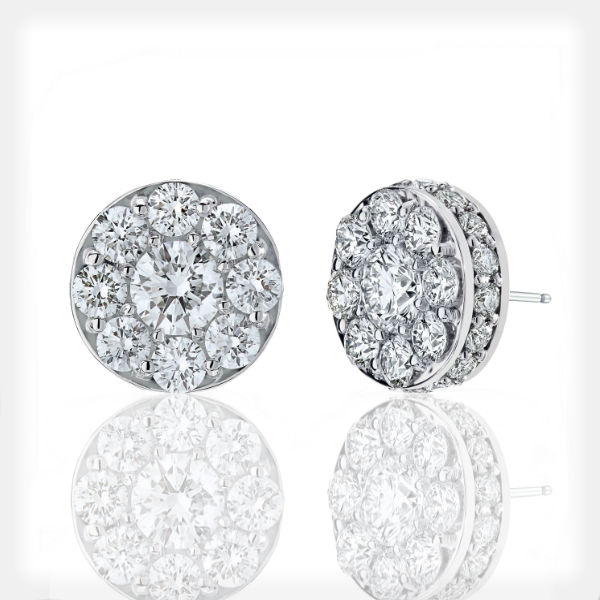 Women's Diamond Studs with Halo by Vibhor Gems