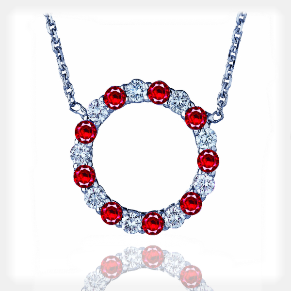 Women's Circle Pendant with Rubies and Diamonds by Vibhor Gems