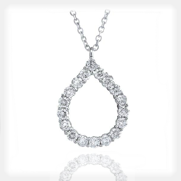 Women's Diamond Pendant in White Gold by Vibhor Gems
