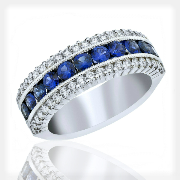 Women's Sapphire and Diamond Eternity Band by Vibhor Gems