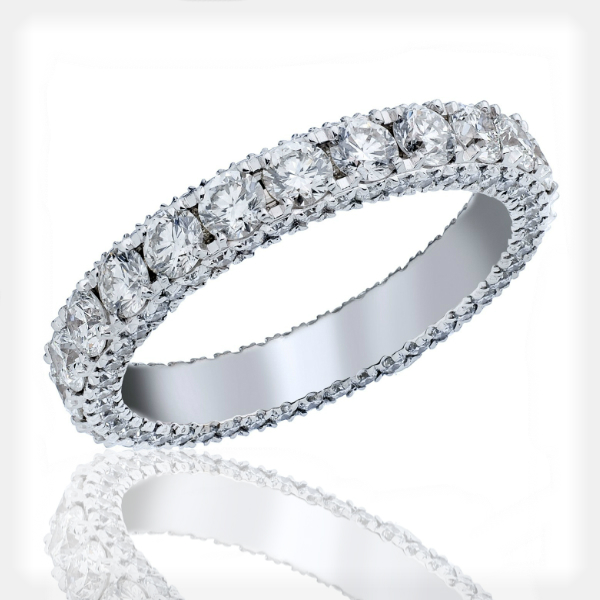 Women's Diamond Eternity Band with Beading on Sides by Vibhor Gems