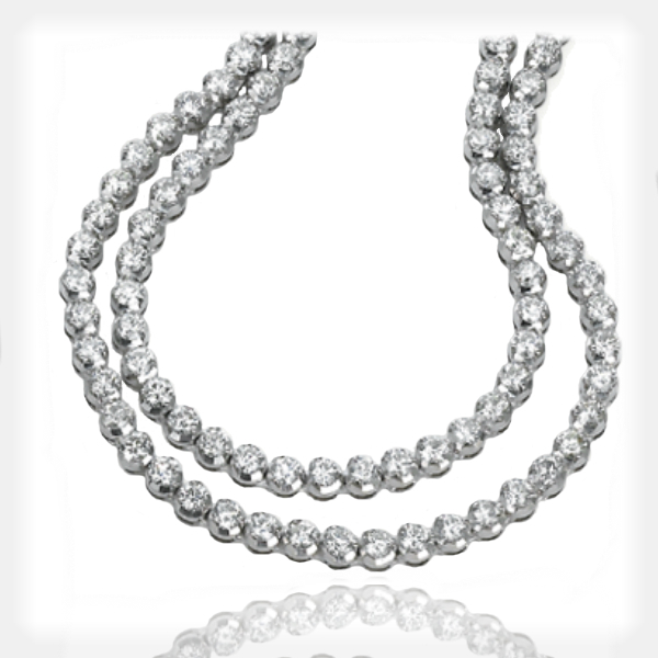 Women's Double-Row Diamond Necklace by Ziva Jewels