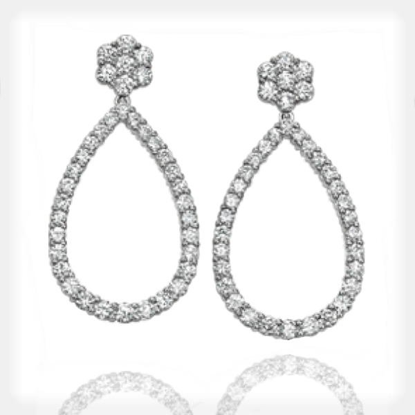 Women's Diamond Large Drop Earrings in White Gold by Ziva Jewels