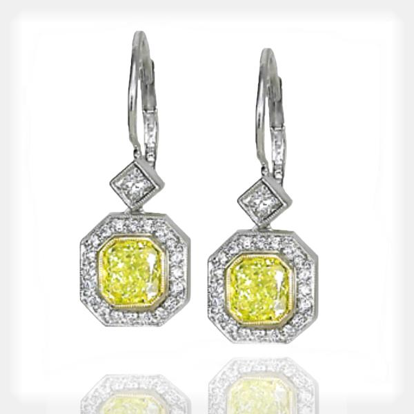 Women's Vintage Inspired Yellow Diamond Earrings by Ziva Jewels