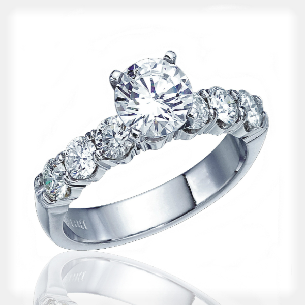 Elegant Engagement Ring with Shared Prong Diamonds by Vibhor Gems