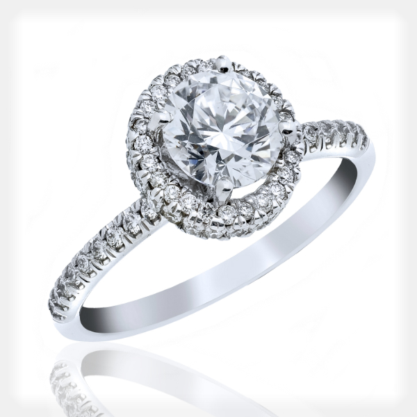 Modern Engagement Ring with Halo and Accents by Vibhor Gems