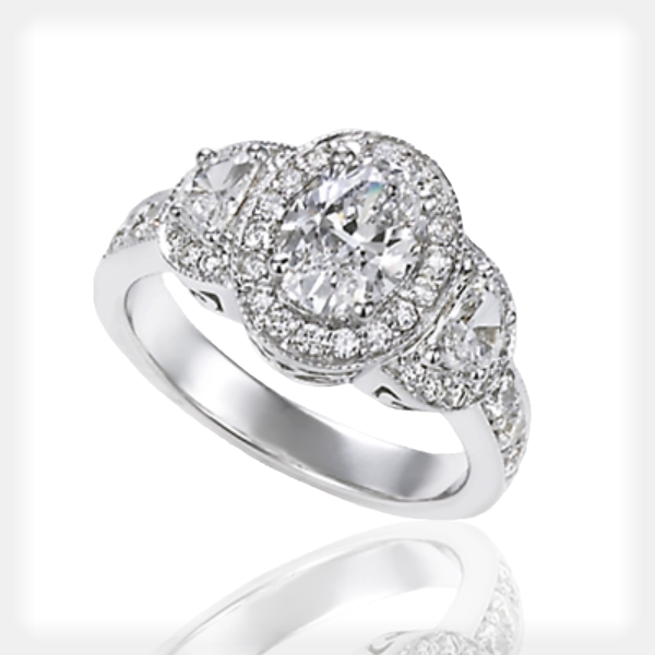 Vintage Oval Engagement Ring by Ziva Jewels