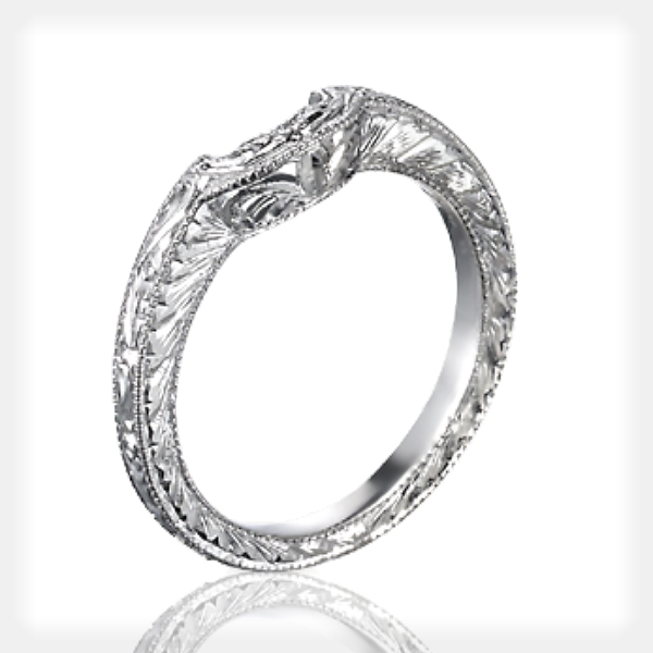 Uniquely Engraved Princess Solitaire with Wedding Band by Ziva Jewels