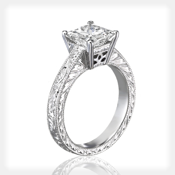 Uniquely Engraved Princess Solitaire by Ziva Jewels