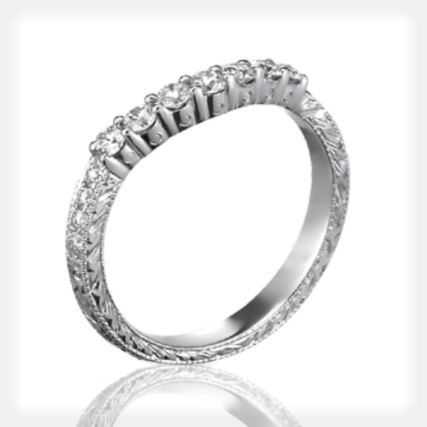 3-Stone Engraved Engagement Ring with Wedding Band by Ziva Jewels