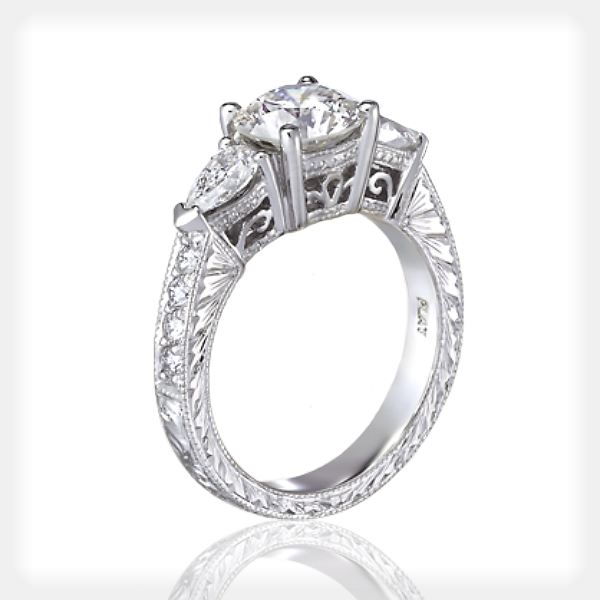 3-Stone Engraved Engagement Ring by Ziva Jewels