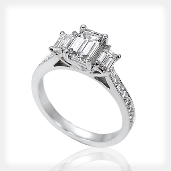 Emerald Cut Engagement Ring with Wedding Band by Ziva Jewels