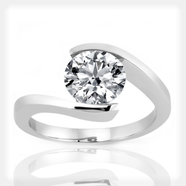 Solitaire Bypass Engagement Ring by Unique Settings of New York