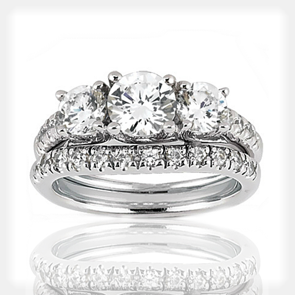 Three Stone Engagement Ring by Unique Settings of New York