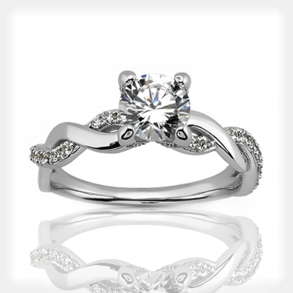 Twisted Split Shank Engagement Ring by Unique Settings of New York