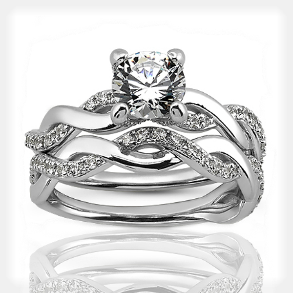 Twisted Engagement and Wedding Rings by Unique Settings of New York